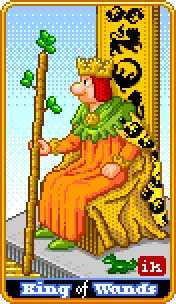 King of Batons Tarot Card - 8-Bit Tarot Deck