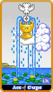 Ace of Cauldrons Tarot Card - 8-Bit Tarot Deck