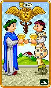 Two of Bowls Tarot Card - 8-Bit Tarot Deck