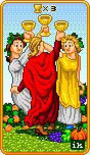 Three of Bowls Tarot Card - 8-Bit Tarot Deck