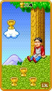 Four of Bowls Tarot Card - 8-Bit Tarot Deck