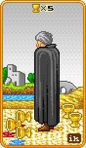 Five of Bowls Tarot Card - 8-Bit Tarot Deck