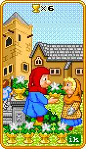Six of Cauldrons Tarot Card - 8-Bit Tarot Deck