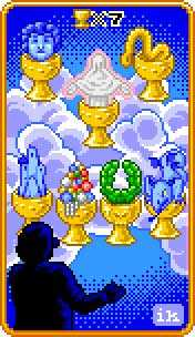 Seven of Cauldrons Tarot Card - 8-Bit Tarot Deck