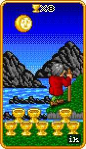 Eight of Bowls Tarot Card - 8-Bit Tarot Deck