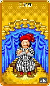 Nine of Cups Tarot Card - 8-Bit Tarot Deck