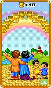 Ten of Hearts Tarot Card - 8-Bit Tarot Deck