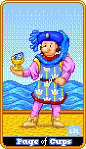 Valet of Cups Tarot Card - 8-Bit Tarot Deck