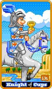 Knight of Cauldrons Tarot Card - 8-Bit Tarot Deck