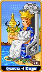 Reine of Cups Tarot Card - 8-Bit Tarot Deck