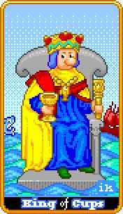Roi of Cups Tarot Card - 8-Bit Tarot Deck