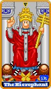 The Hierophant Tarot Card - 8-Bit Tarot Deck