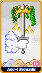 Ace of Arrows Tarot Card - 8-Bit Tarot Deck