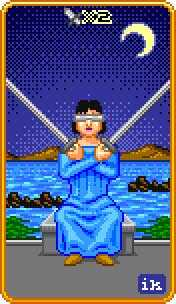 Two of Arrows Tarot Card - 8-Bit Tarot Deck