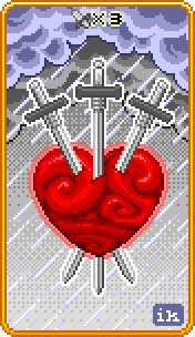 Three of Swords Tarot Card - 8-Bit Tarot Deck