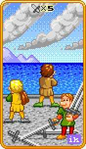 Five of Rainbows Tarot Card - 8-Bit Tarot Deck