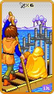 Six of Arrows Tarot Card - 8-Bit Tarot Deck