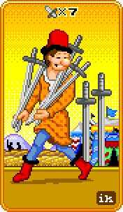 Seven of Arrows Tarot Card - 8-Bit Tarot Deck