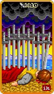 Ten of Bats Tarot Card - 8-Bit Tarot Deck