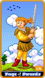 Page of Spades Tarot Card - 8-Bit Tarot Deck