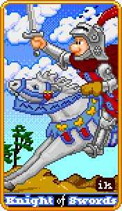 Cavalier of Swords Tarot Card - 8-Bit Tarot Deck