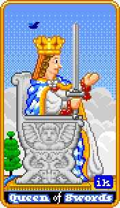 Queen of Arrows Tarot Card - 8-Bit Tarot Deck