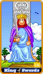Roi of Swords Tarot Card - 8-Bit Tarot Deck