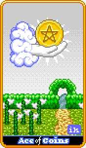 Ace of Pentacles Tarot Card - 8-Bit Tarot Deck