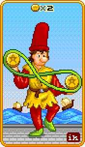 Two of Pentacles Tarot Card - 8-Bit Tarot Deck