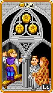 Three of Coins Tarot Card - 8-Bit Tarot Deck