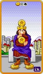 Four of Coins Tarot Card - 8-Bit Tarot Deck