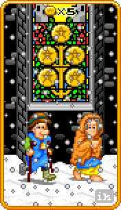 Five of Discs Tarot Card - 8-Bit Tarot Deck