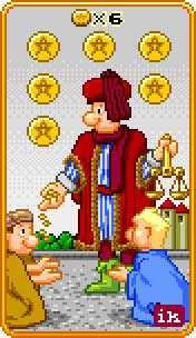 Six of Coins Tarot Card - 8-Bit Tarot Deck