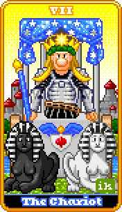 The Chariot Tarot Card - 8-Bit Tarot Deck