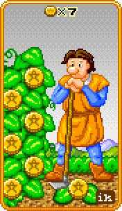 Seven of Coins Tarot Card - 8-Bit Tarot Deck