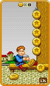 Eight of Coins Tarot Card - 8-Bit Tarot Deck