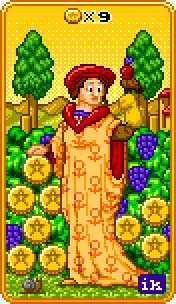 Nine of Pentacles Tarot Card - 8-Bit Tarot Deck
