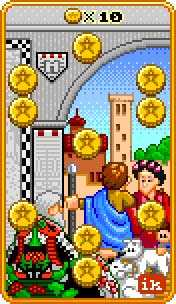 Ten of Coins Tarot Card - 8-Bit Tarot Deck
