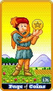 Daughter of Coins Tarot Card - 8-Bit Tarot Deck