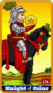 Knight of Pentacles Tarot Card - 8-Bit Tarot Deck