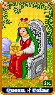 Queen of Coins Tarot Card - 8-Bit Tarot Deck