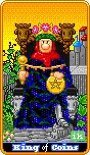 Roi of Coins Tarot Card - 8-Bit Tarot Deck