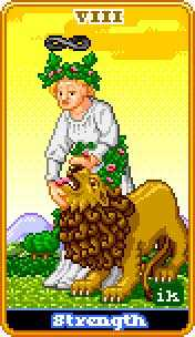 Strength Tarot Card - 8-Bit Tarot Deck