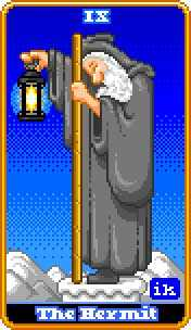 The Hermit Tarot Card - 8-Bit Tarot Deck