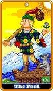 The Fool Tarot card in 8-Bit Tarot deck