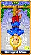 The Hanged Man Tarot card in 8-Bit Tarot Tarot deck