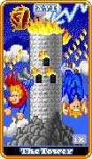 The Tower Tarot card in 8-Bit Tarot deck