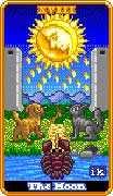 The Moon Tarot card in 8-Bit Tarot deck