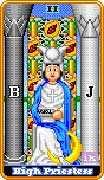 The High Priestess Tarot card in 8-Bit Tarot deck