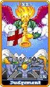 Judgement Tarot card in 8-Bit Tarot deck
